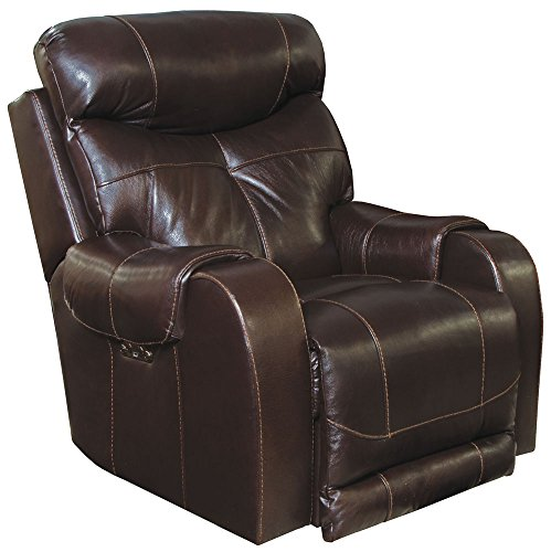 Catnapper Venice Power Lay Flat Leather Recliner - Chocolate (curbside delivery)