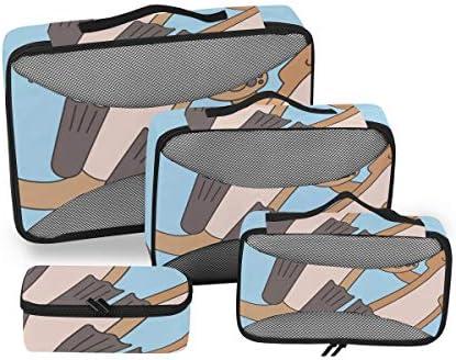 トラベル ポーチ 旅行用 収納ケース 4点セット トラベルポーチセット アレンジケース スーツケース整理 かわいいカワウソ 収納ポーチ 大容量 軽量 衣類 トイレタリーバッグ インナーバッグ