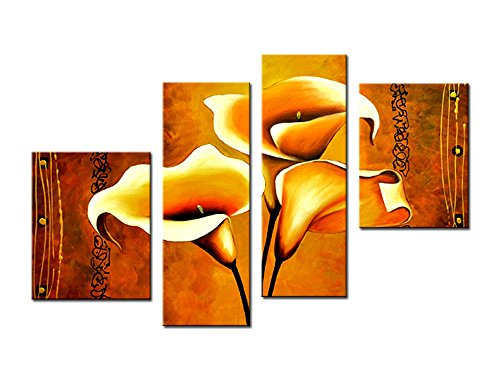 Noah Art-New Floral Wall Art, 100% Hand Painted 4 Panel Gallery-Wrapped Lilies Flower Oil Paintings on Canvas Framed Flower Canvas Art Sharp to Hang for Kitchen Wall Decorations