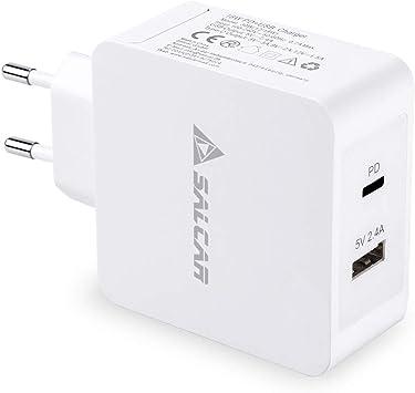 SALCAR Adaptador de Corriente USB-C 18W PD Tipo-C 5V 2.4A USB 2 ...