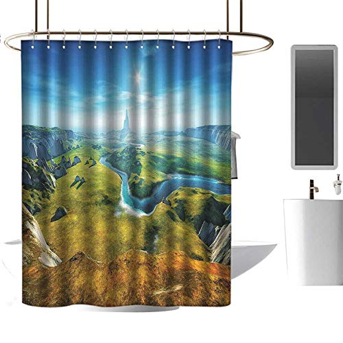 TimBeve White Shower Curtain Landscape,3D Style Colorful Magical Outdoors River Rocks Cliffs Fresh Grass Hiking,Blue Green Grey,3D Effect Bathroom Curtain 54
