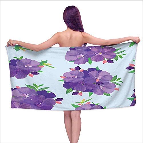 Ediyuneth Extra Long Bath Towel Seamless Pattern with Beautiful Purple Princess Flower or tibouchina urvilleana and Leaf on Blue Background,W10 xL39 for Youth Girls Cotton