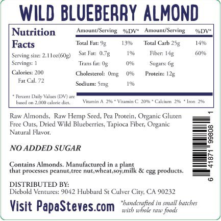 Papa Steve's No Junk Raw Vegan Protein Bars: Non GMO, Gluten Free, 100% Natural, Hand-Made Weekly - Wild Blueberry Almond (Pack of 10)