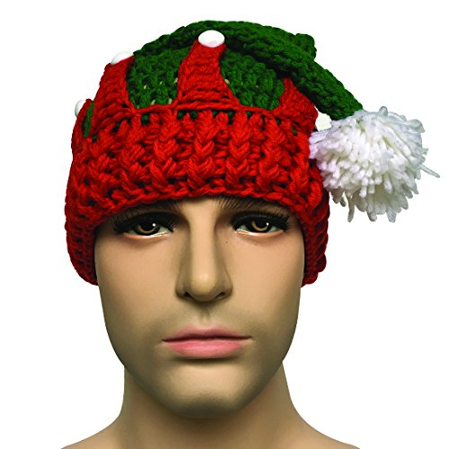 Kafeimali Unisex Christmas Tree Knitted Crochet Beanie Santa Hat Bearded Caps (Green)