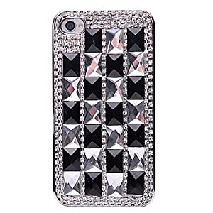 DD Balck White Cube Jewelry Covered Back Case for iPhone 4/4S