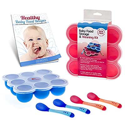 Safest Baby Food Storage Containers 2-Set Freezer Trays - BPA Free FDA Approved - 2 Silicone Clip On Lids - 2.6 oz Multiportions - 4 FREE Weaning Spoons & BONUS KiddieBobs Homemade Recipe CookBook by Shenzhen Longgang Jinweixin Silicone Product Factory th