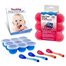 Safest Baby Food Storage Containers 2-Set Freezer Trays - BPA Free FDA Approved - 2 Silicone Clip On Lids - 2.6 oz Multiportions - 4 FREE Weaning Spoons & BONUS KiddieBobs Homemade Recipe CookBook