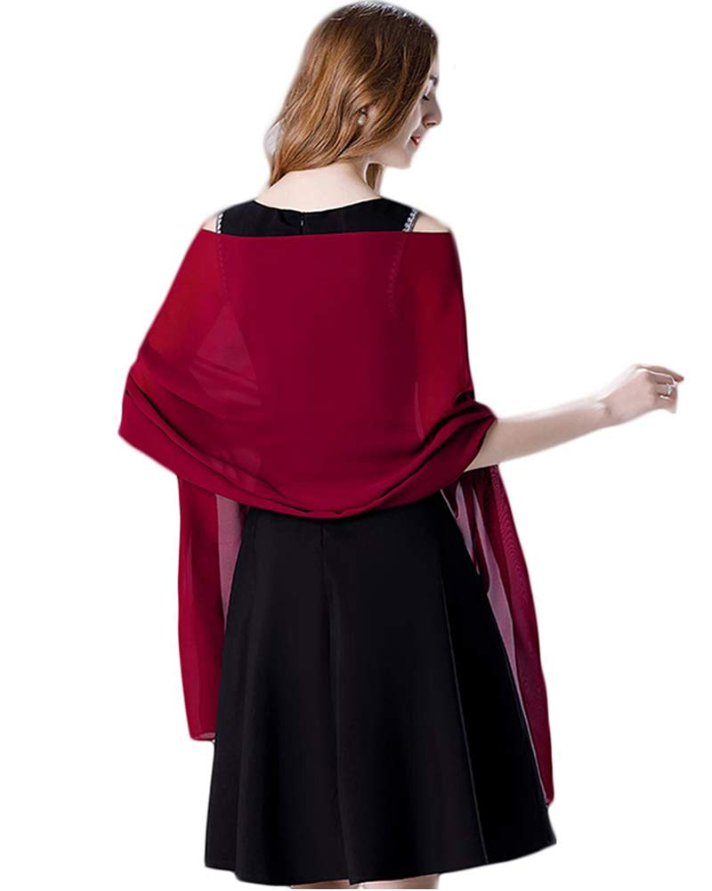 Soft Chiffon Scarve Shawls Wraps for Dresses Women Accessories Red dates