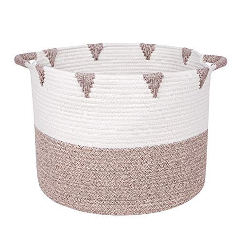 Beautiful Woven Storage Basket by We Care Vida- Great Housewarming Idea for Homeowner - Perfect Blanket Basket for Your Living Room and Kids' Toy Storage Made From Natural Cotton Rope (Gold) (Care Basket)