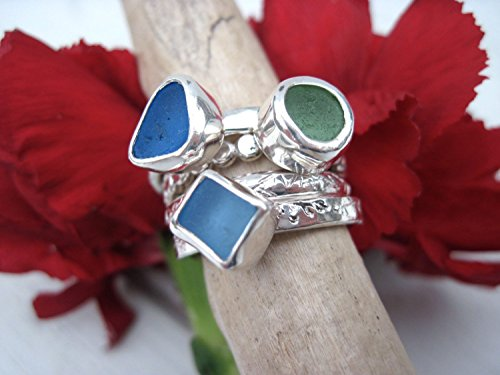 Stacking Rings in Sterling Silver and Sea Glass - For the Discriminating Beach - Glasses Bum