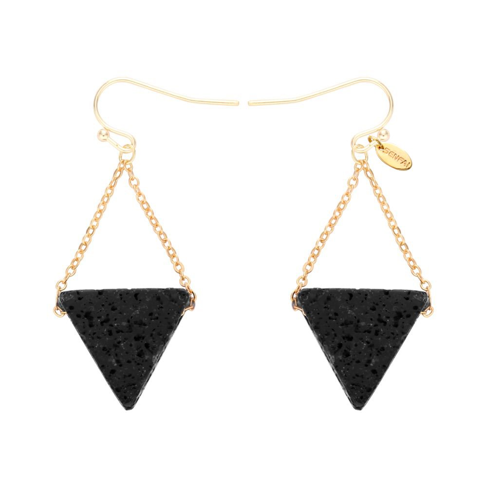 SENFAI Lava Rock Volcano Stone Earring Summer Style Real gold Plated Earrings for Mother Gift (gold)