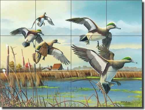 (Ducks Wildlife Ceramic Tile Mural 24