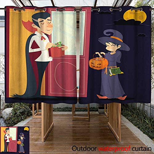 RenteriaDecor Outdoor Ultraviolet Protective Curtains Vintage Happy Smiling Male Vampire Female Witch Halloween Symbol Lifesyle W108 x L72 -
