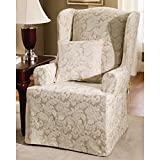 Single Piece Light Beige Brown Home Decor Slipcover For Wing Chair, Floral Leaf Pattern, Relaxed Fit Style, Cotton Blend Material, Comfort To Your Living Space