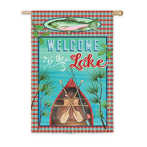 Evergreen Welcome to the Lake Outdoor Safe Double-Sided Sued