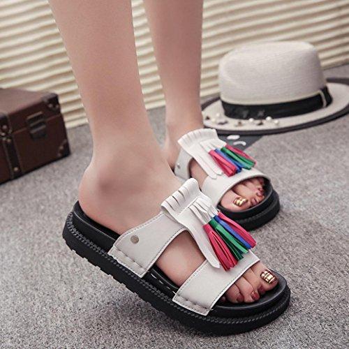 Flops Sandal Elevin Tassel Women Fringe TM White Flat Peep Flip Summer Fashion Shoes Toe Slipper Platform OrqnPwaOAx