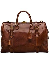 Maxwell Scott Italian Leather Large Luggage Bag - GassanoL Tan
