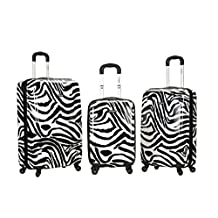 Rockland F195 Upright Luggage Set, Zebra, Medium, 3-Piece