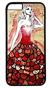 Fashion Girl With Red Dress fashion DIY Masterpiece Limited Design Case for iPhone 6 Plus PC Black by Cases & Mousepads