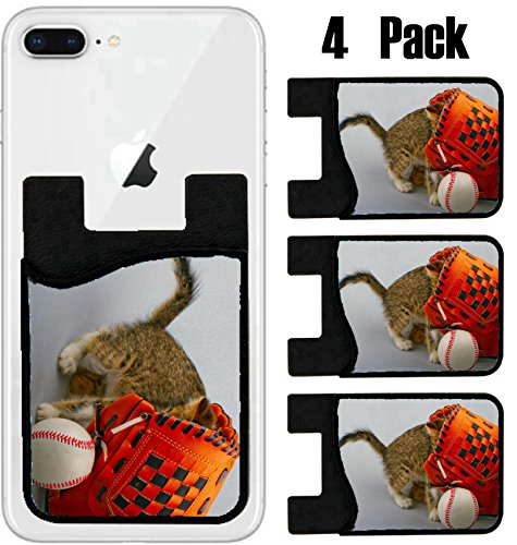 MSD Phone Card holder, sleeve/wallet for iPhone Samsung Android and all smartphones with removable microfiber screen cleaner Silicone card Caddy(4 Pack) Cat inside a baseball glove over white backgrou by MSD