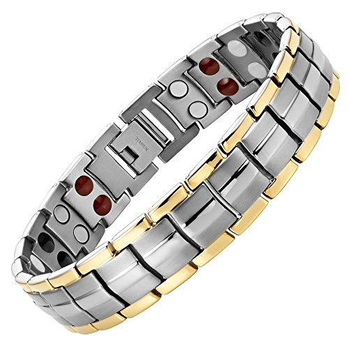 (Willis Judd Double Strength 4 Element Titanium Magnetic Therapy Bracelet for Arthritis Pain Relief Size Adjusting Tool and Gift Box Included)