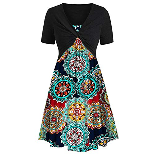 - Dresses for Women Casual Short Sleeve Front Criss Cross Top + Floral Print Sleeveless Mini Dress Sun Dresses Suits Navy