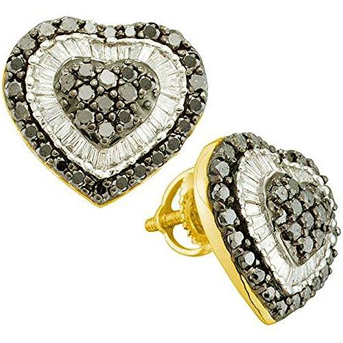 Fingalo 1.50 Carat (ctw) 14K Yellow Gold Round & Baguette Cut Black & White Diamond Ladies Fashion Heart (Baguette Heart Earrings)