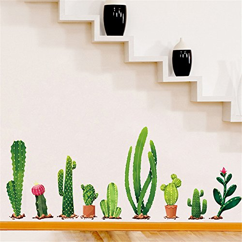 Stripe Ash Wood (EdC DIY Cactus Family Wall Sticker, DIY Removable Cute Wallpaper Lovely Wall Stickers for Living Room Bedroom Nursery Kids Room Home Vinyl Art Mural Decor)