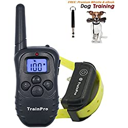 TrainPro PRO998 Electronic Dog Training 330-Yard Rechargeable Waterproof e-Collar System for One Dog with eBook and Whistle, 3.0 Version, Black