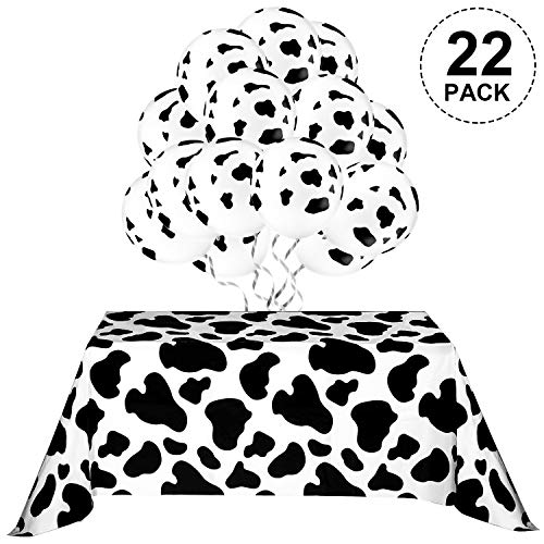 Cow Print Decorations, Include 2 Pieces Cow Print Table Covers, 20 Pieces Cow Pattern Balloons for Farm Animal Party Picnic Supplies -