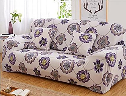 YJBear 1 PC European Charming Purple Flower Pattern Polyester Spandex  Furniture Cover Slip Resistant Strapless Stretch