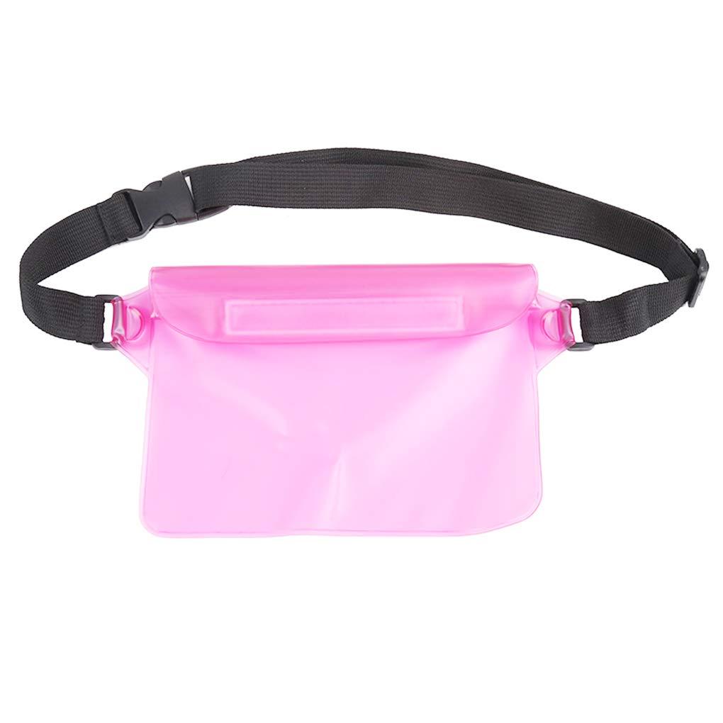 OmkuwlQ Unisex Waterproof PVC Transparent Small Summer Beach Bag Drifting Waist Pack Triple Sealed Phone Pouch