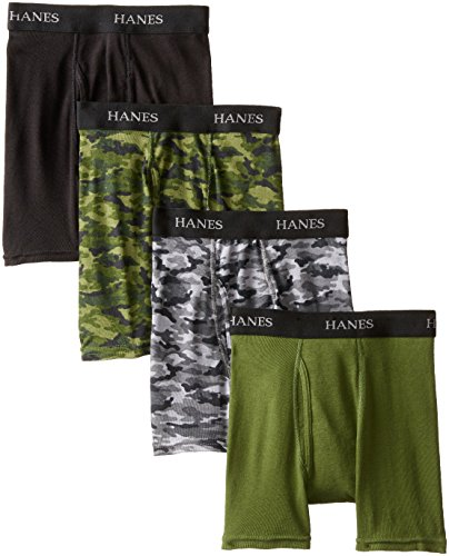 (Hanes Boys' 4 Pack Ultimate Comfort Flex  Printed Boxer Brief, Assorted, Small)
