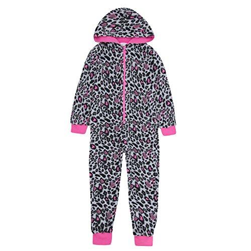 ONEZEE Kids Girls Leopard Print Animal Jumpsuit - Sleepsuit Pajamas with Hood