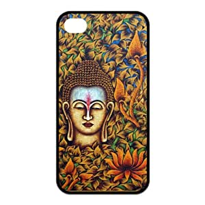 AZA RUBBER SILICONE Case for iPhone 4,iPhone 4S, Buddha Protective RUBBER iPhone Case-Black/White