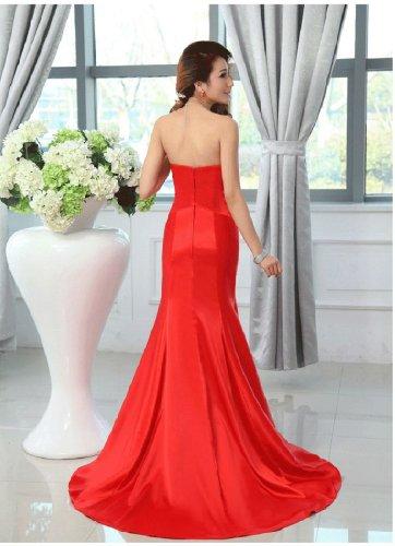 lang trägerlos Abendkleider Meerjungfrau Kristall Rot Emily Beauty wqPIFt