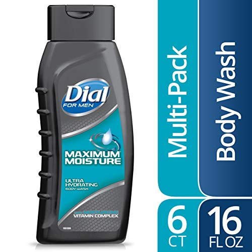 Dial for Men Body Wash, Maximum Moisture with Moisturizing Vitamin Complex, 16 Fluid oz (Pack of 6)