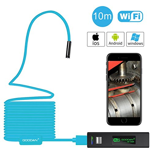 GOODAN Wireless WiFi Endoscope, 8mm Borescope Semi-rigid Inspection Camera 2.0 Megapixels HD Snake Camera for Android and IOS Smartphone, iPhone, Samsung, Tablet Macbook(10M)