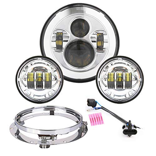 Z-OFFROAD Upgraded 7 inch LED Headlight 4.5 Fog Passing Lights DOT Kit for Harley Davidson Electra Street Glide Road King Ultra Classic Heritage Softail Slim Deluxe Fatboy - ()