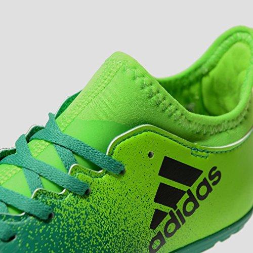 Adidas x 16.3TF J–Chaussures montantes de fútbolpara enfants, vert–(Versol/negbas/verbas), 28