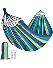 Solomone Cavalli Brazilian Hammock with Hanging Kits, Tree Hammock for Indoor Outdoor Patio Porch Backyard Camping, Cotton Canvas Carrying Bag, Ropes and Carabiners Included