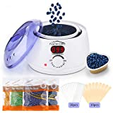 Famirosa Wax Heater, Professional Electric Wax Warmer, Safety Wax Melter Machine for Hair Removal Warmer with 4 Packs Hard Wax Beans, 10 Wax Applicator Sticks, LCD Digital Display Pot Waxing Kit