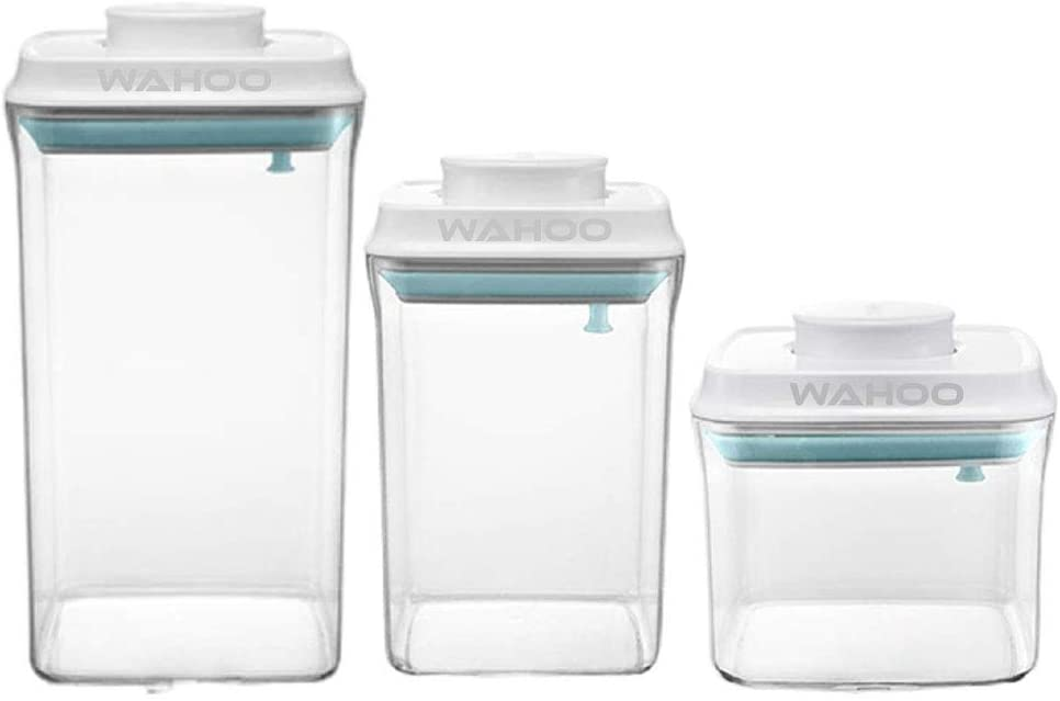 Airtight Food Storage Containers With Lids, Set Of 3-2L, 1.5L, 0.5L, Leak Proof, BPA Free Plastic Storage Canisters, Coffee, Flour Storage Containers, Dog Food Containers,