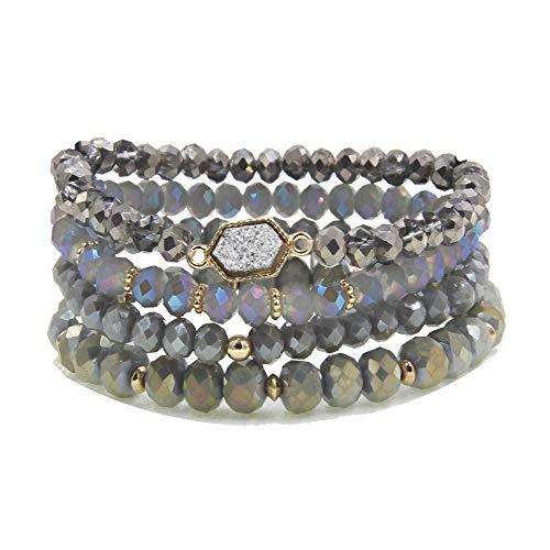 (YUJIAXU Gold Beaded Bracelet Set, Square Stone Hexagon Druzy Stretch Beaded Stackable Bracelets Bangles (Silver Druzy))