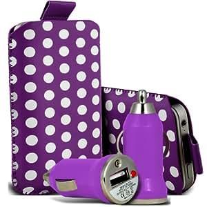 Samsung Galaxy S3 i9300 Protección Premium Polka PU ficha de extracción Slip In Pouch Pocket Cordón piel cubierta de la cubierta del caso Rápido y Bullet Rápido Cargador USB para coche con carga de luz púrpura y blanca del LED por Spyrox