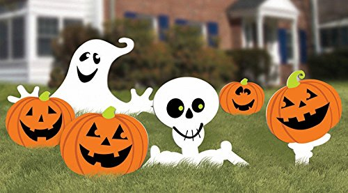 Halloween Decorations - Family Friendly Skeleton and Ghost Corrugate Yard Stake Signs Halloween Trick or Treat Party Outdoor Decoration, Plastic, 20