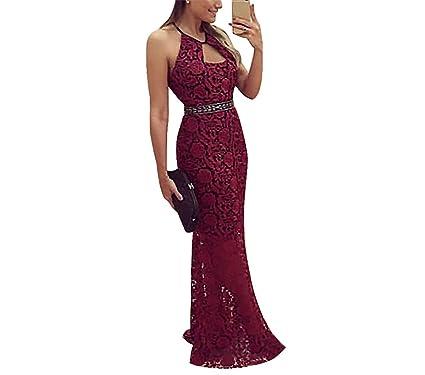 Acelyn Women s Vintage Retro Floral Lace Halter Vintage Backless Wedding  Maxi Formal Long Dress Large Red 5f9b02b64