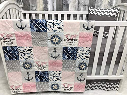 Gift From Aunt Baby Girl Blanket Ocean Crib Bedding Coral and Mint Nursery Decor Baby Gift Nautical Floral Baby Set Baby Shower Gift