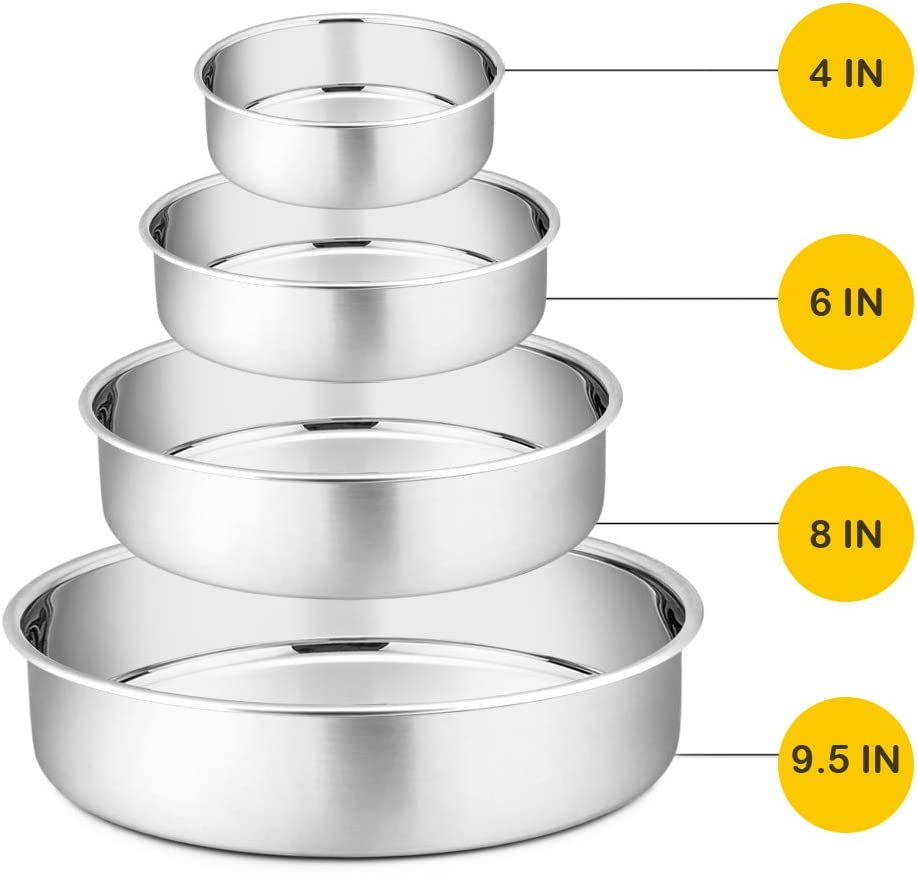 """Cake Pan Set - 4"""", 6"""", 8"""", 9.5"""", P&P CHEF 4 Piece Round Baking Cake Pans Tin Stainless Steel, Oven/Pot/Dishwasher Safe, Heavy Duty & Non Toxic, Mirror Finish & Easy Clean"""