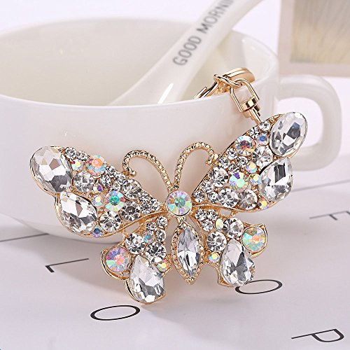 Butterfly Key Rings - Bling Bling Crystal Rhinestone Butterfly Shaped Metal Keychain Car Phone Purse Bag Decoration Holiday GIF (White)